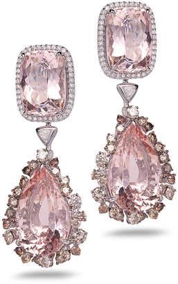 Coomi Trinity 18k White Gold Morganite Drop Earrings w/ Diamonds