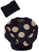 Imoga Fuzzy Knit Sweater & Scarf-NAVY