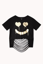Forever 21 Dripped Smile Crop Top