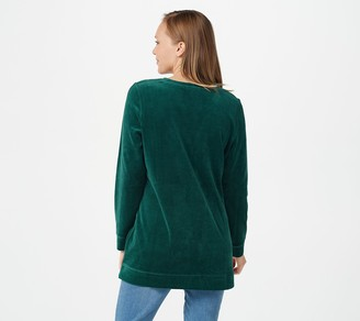 Denim & Co. Petite_Velour Long-Sleeve Tunic with Pockets