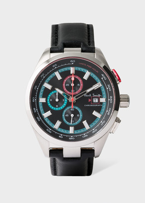 Men's Petrol And Black Leather 'Chrono' Chronograph Watch