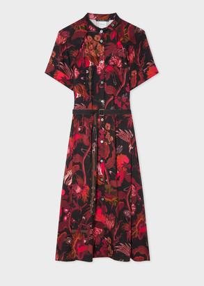 Paul Smith Women's Red 'Beetle Botanical' Print Shirt Dress