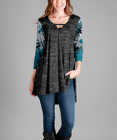 Aster Gray & Teal Daisy-Accent Keyhole Tunic - Plus Too