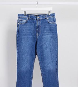 Asos DESIGN Curve High rise 'effortless' stretch kick flare jeans in mid vintage blue