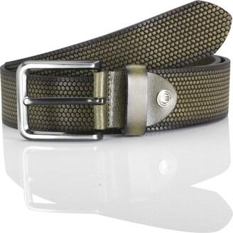 LINDENMANN men's leather belt/men's belt full grain leather khaki Groe/Size:110