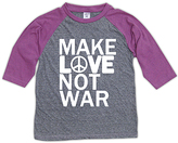 Urban Smalls Heather Gray & Purple 'Love Not War' Raglan Tee - Toddler & Girls