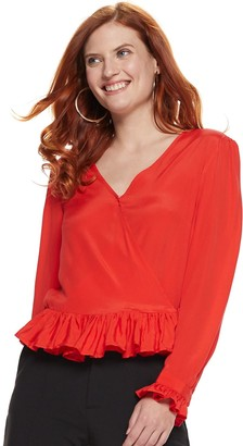 Nine West Women's Silk-Blend Ruffle-Hem Blouse