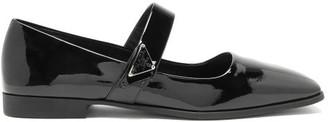 Prada Mary-jane Square-toe Patent Leather Flats - Black