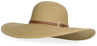 Melissa Odabash Jemima Leather Straw Floppy Hat