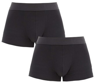 Sunspel Pack Of Two Cotton-blend Boxer Briefs - Black
