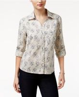 Style&Co. Style & Co Petite Printed Roll-Tab Shirt, Only at Macy's