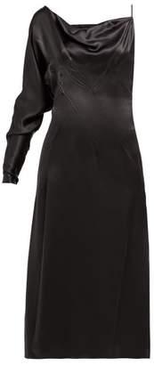 Versace One-shoulder Side-slit Silk Slip Dress - Womens - Black