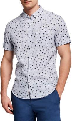 Original Penguin Penguin Men's Short-Sleeve Linen/Cotton Palm Button-Down Shirt