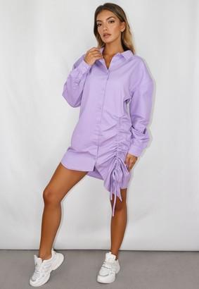 Missguided Lilac Ruched Denim Shirt Dress
