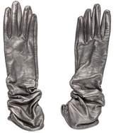 Neiman Marcus Metallic Ruched Gloves