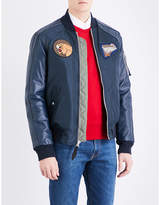 Schott Patch Appliqué Shell And Leather Bomber Jacket