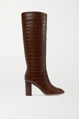 Loeffler Randall Goldy Croc-effect Leather Knee Boots - Brown