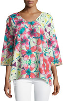 Johnny Was Barra Floral-Print 3/4-Sleeve Blouse, Multi