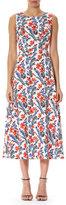 Carolina Herrera Poppy Sleeveless Silk Midi Dress, White