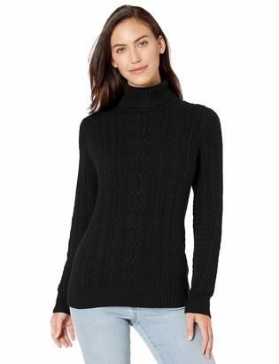 Amazon Essentials Fisherman Cable Turtleneck Sweater Black Medium