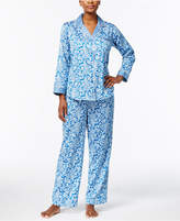 Miss Elaine Contrast-Cuff Pajama Set