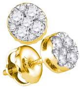 Saris and Things 14kt Yellow Gold Womens Round Natural Diamond Cluster Fashion Earrings 1/4 Cttw