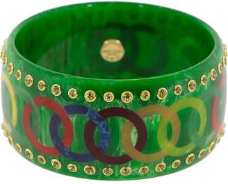 Mark Davis Green and Multicolor Bakelite Circle Bangle