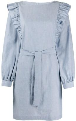 A.P.C. ruffled shoulder striped dress