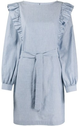 A.P.C. Ruffled Shoulder Striped Dress