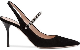 Miu Miu Crystal Embellished Slingbacks