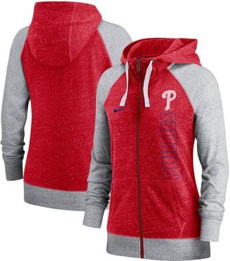 Nike Women's Red Philadelphia Phillies In Pocket Gym Vintage Full-Zip Hoodie