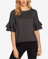 CeCe Tiered-Sleeve Striped Top