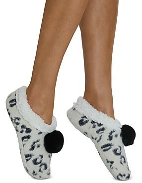 Cejoli Snow Leopard Faux Fur Slippers