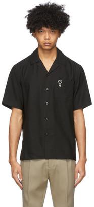 Ami Alexandre Mattiussi Black Embroidered Ami De Coeur Short Sleeve Shirt