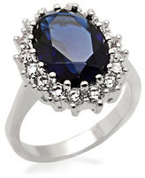 Michela Oval Faux Sapphire Ring with Cubic Zirconia