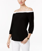 INC International Concepts Off-The-Shoulder Colorblocked Top, Only at Macy's