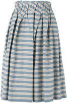 Jil Sander Navy striped skirt - women - Cotton/Polyester/Acetate/Cupro - 36