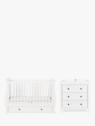 Silver Cross Nostalgia Sleigh Cotbed and Dresser, White