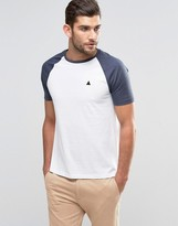 Asos T-Shirt With Contrast Sleeves And Logo In White/Navy