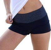 Hollywood Star Fashion Waist Band Contrast Yoga Fold Over Shorts