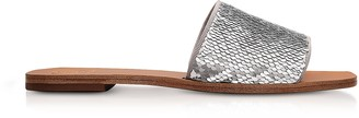 Tory Burch Carter Silver and White Glitter & Leather Slides