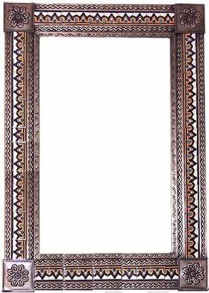 Fine Crafts & Imports Big Brown Milan Tile Talavera Tin Mirror