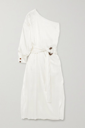 NACKIYÉ Patmos One-sleeve Belted Silk-satin Midi Dress - White