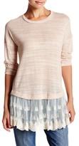 Blu Pepper Layered Scalloped Lace Sweater