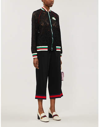 Gucci Floral-print logo-embroidered lace jacket