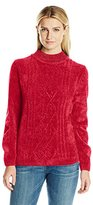 Alfred Dunner Women's Classic Beaded Neck Chenille Cable Front Sweater