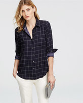 Ann Taylor Windowpane Camp Shirt