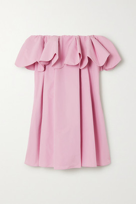Valentino Off-the-shoulder Scalloped Cotton-blend Poplin Mini Dress - Pink