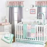 The Peanut Shell Mini-Dots Patchwork 4-Piece Crib Set in Coral/Mint