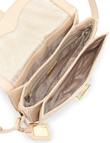 Badgley Mischka Jules Pebbled Leather Crossbody Saddle Bag, Latte